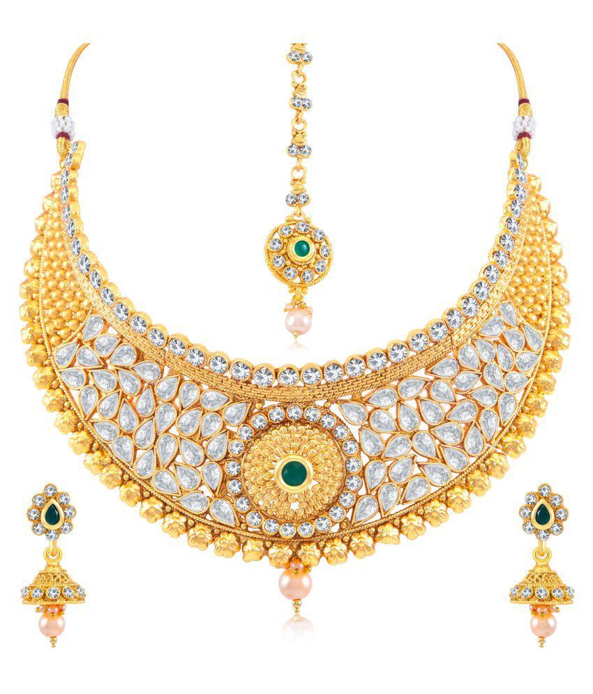 Sukkhi Astonish AD Gold Plated Choker Necklace Set for Women