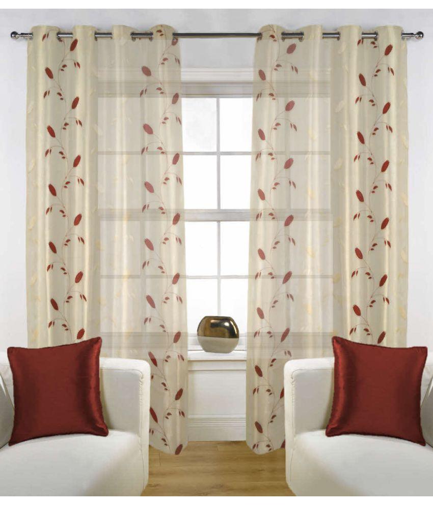 Fabutex Set of 2 Door Eyelet Curtains Floral Maroon