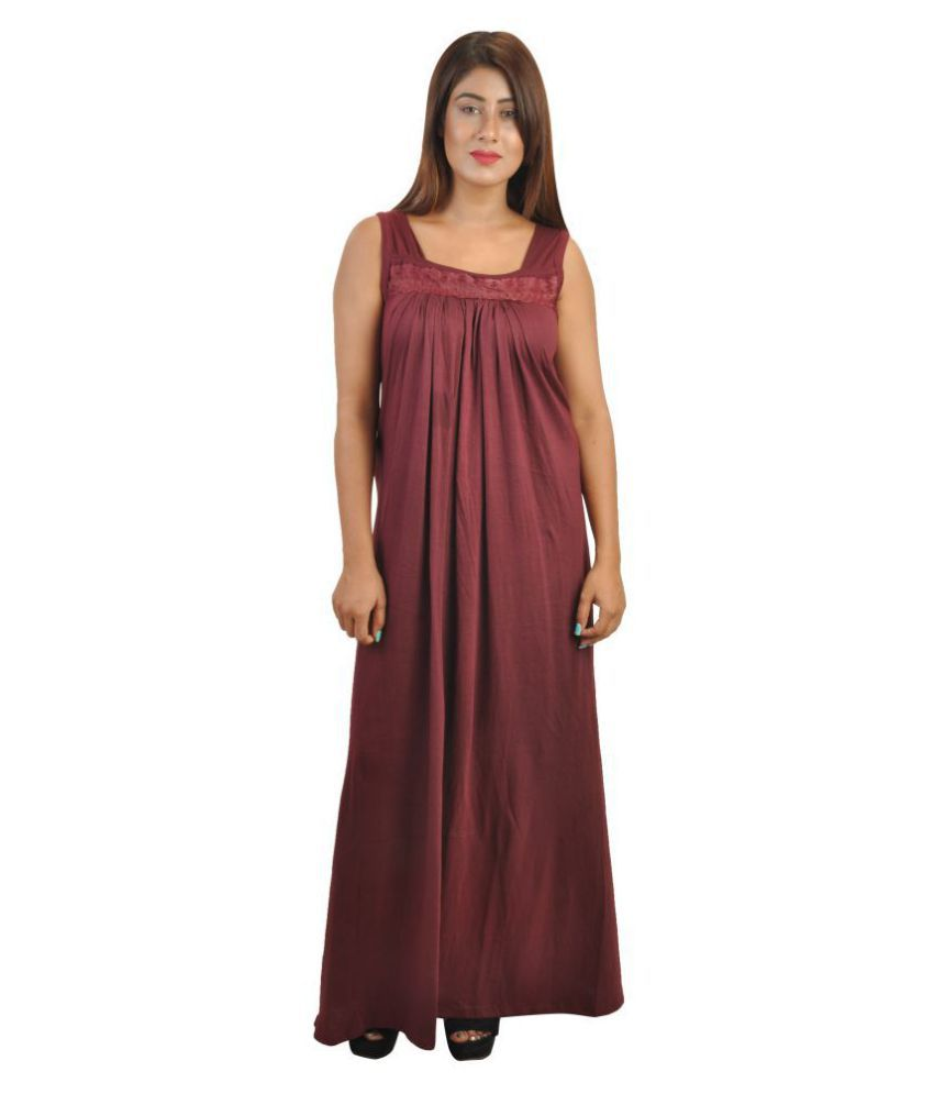 4be6f76c7304 Buy Piyali s Creation Women s Cotton Nighty   Night Gowns - Brown ...