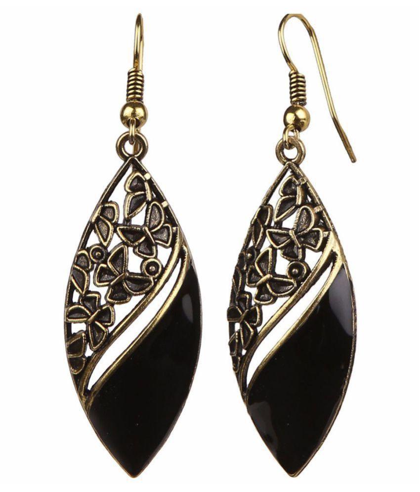 Zeneme Oxidised Black Fancy Party Wear Danglers Earrings Jewellery for Girls and Women