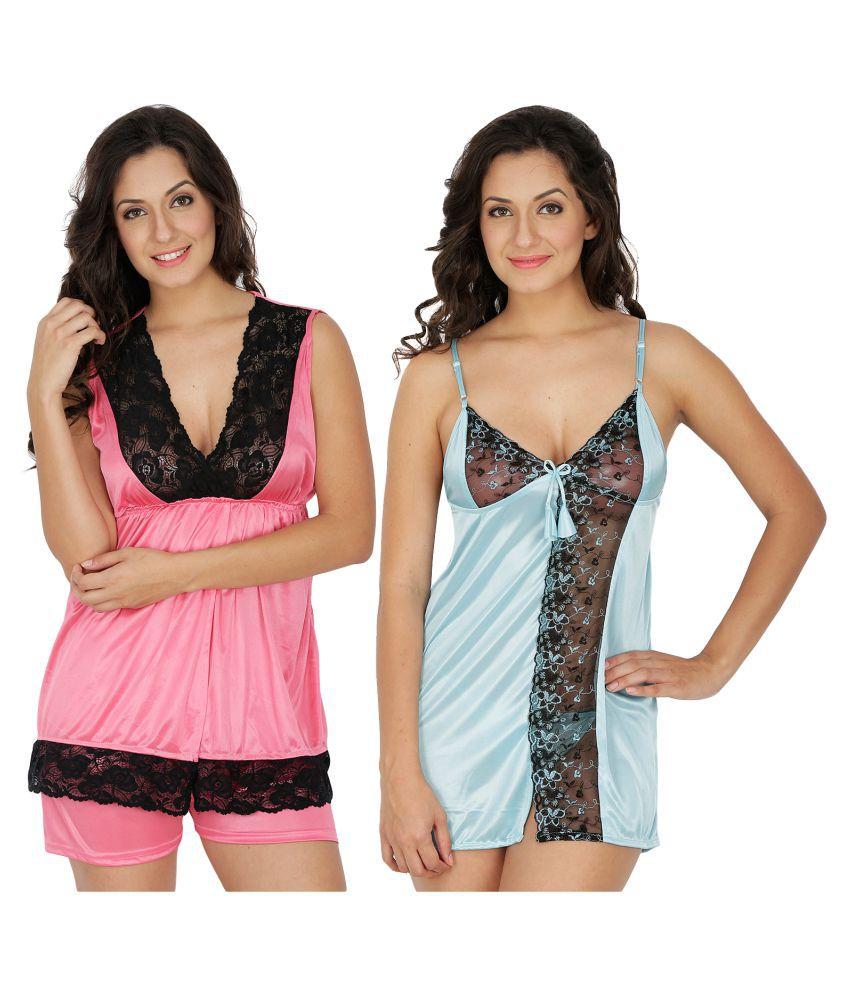 Klamotten Satin Nighty & Night Gowns - Multi Color