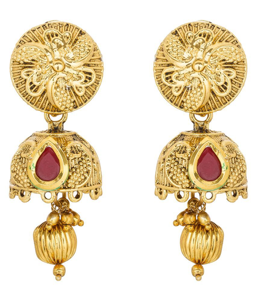 Aadita Gold Plated Color Stone Dangle and Drop Earrings for Women and Girls