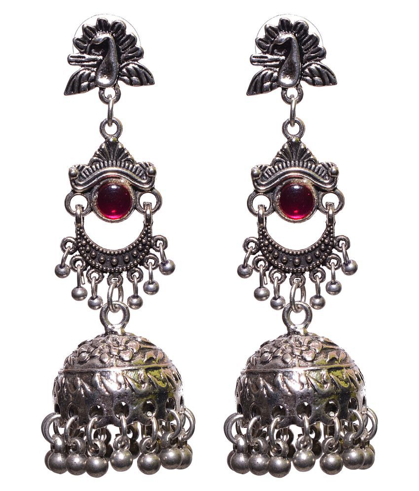 Aamoddhini German Silver Ethnic Boho Traditional Gypsy Chic Designer Partywear Earrings Jhumki For Women and Girls