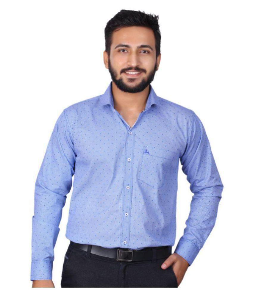 DOE Blue Formal Regular Fit Shirt