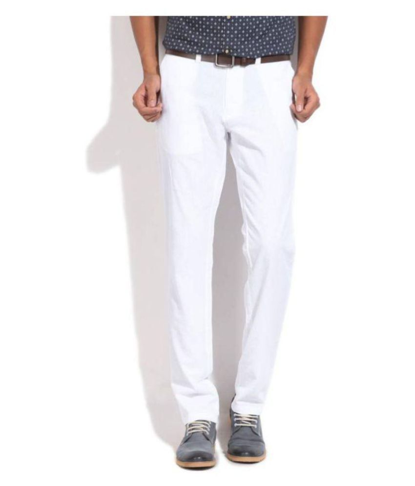 United Colors of Benetton White Slim -Fit Flat Trousers