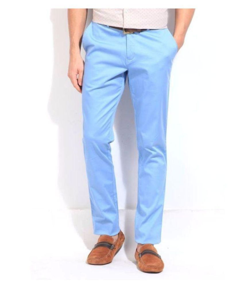 BLACKBERRYS Blue Slim -Fit Flat Chinos