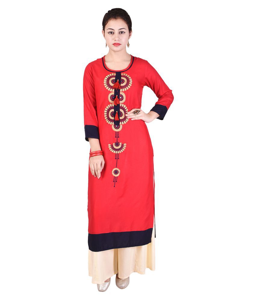 LIPSA Red Rayon Straight Stitched Suit