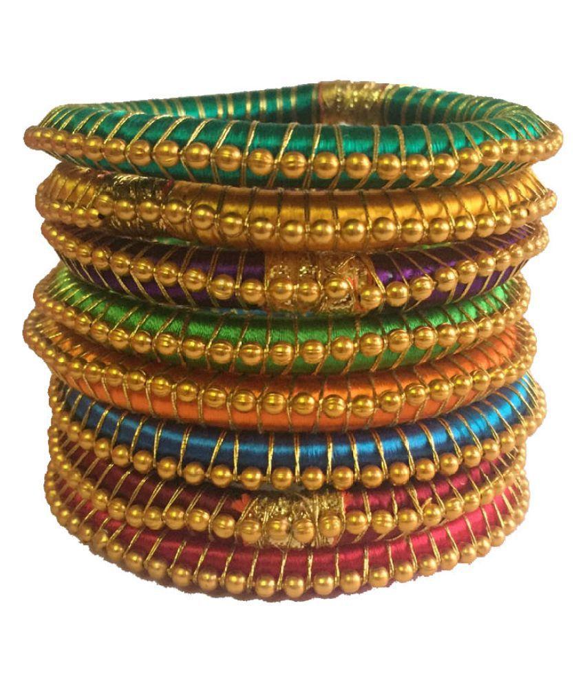 Nikush Handmade Silk Dori Bangle Set