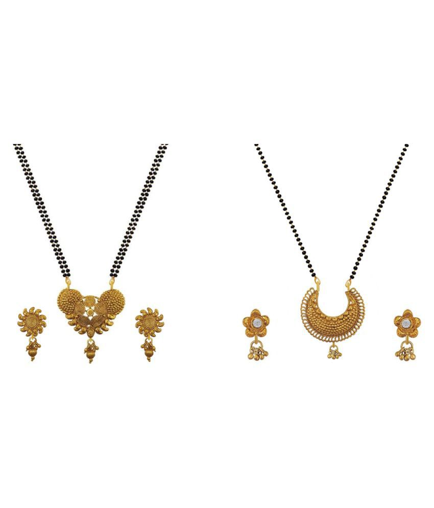 Aabhu Fashionable Combo of 2 Mangalsutra with Chain and Earrings Jewellery Set for Women