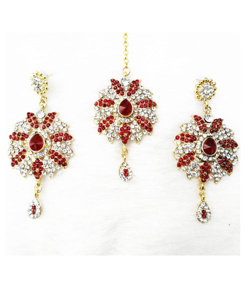Zirconic Earrings With Tikka Set
