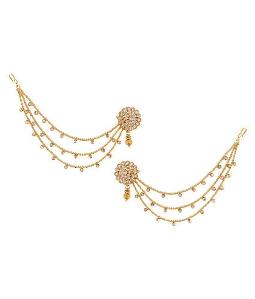 Anuradha Art Golden Finish Studded Shimmering Stone Bahubali Devsena Pattern Designer Traditional Jhumki/Jhumkas Earrings With Kan Chain For Women/Girls