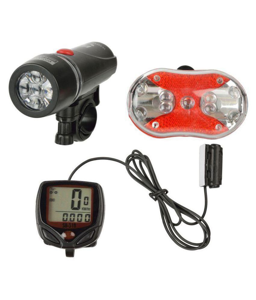 DarkHorse Imported Bicycle 2 Mode 9 LED Front Light & 7 Mode 9 LED Rear Light with Cyclo Computer Wired  Combo