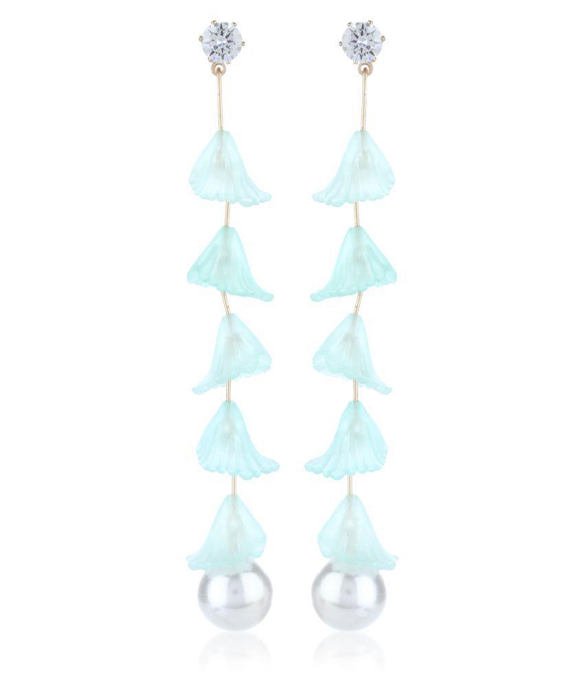 Fasherati summer style lily flower Light turquoise long dangler Earrings for girls