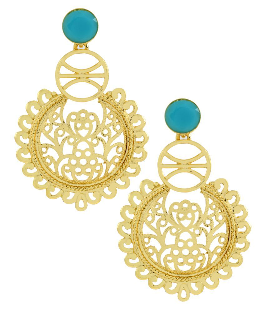 The Jewelbox Large Statement Filigree Chaand Bali Blue 18K Gold Plated Jhumki Earring For Girls Women