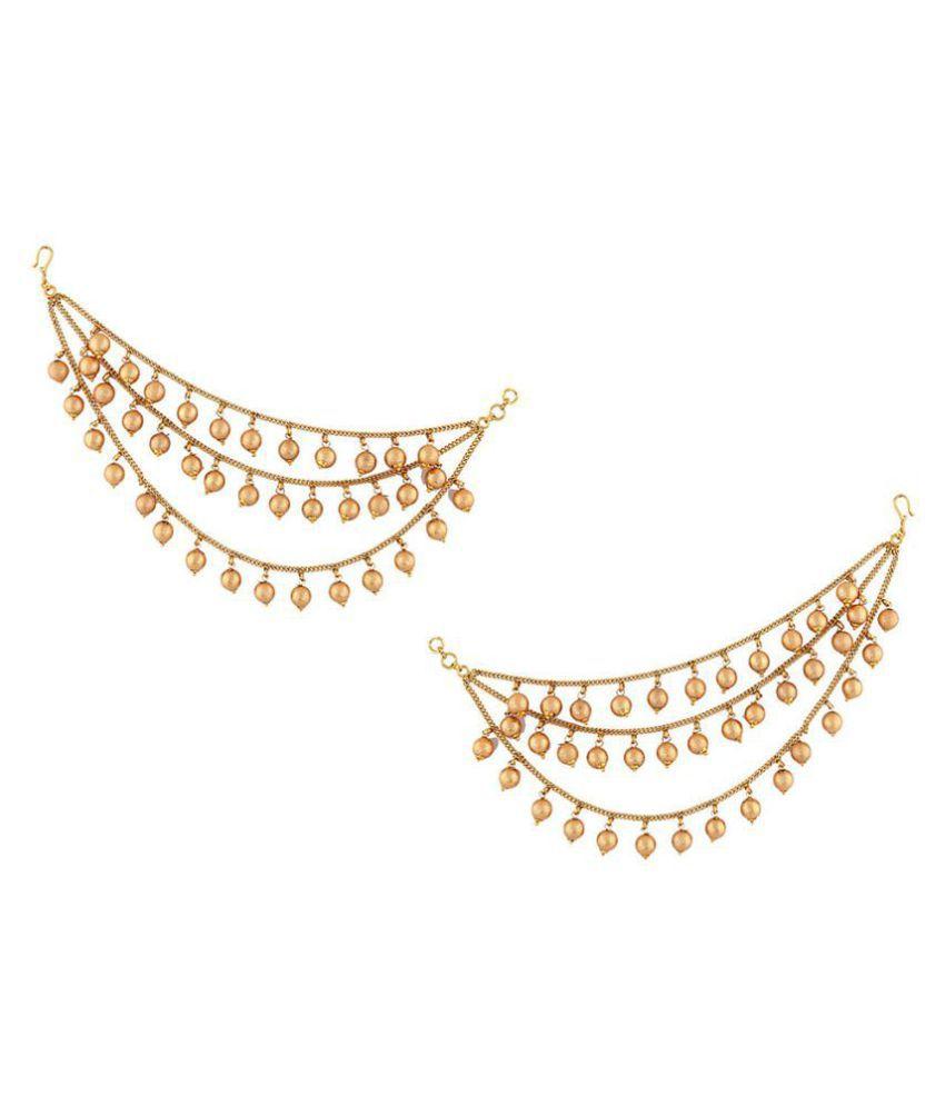 Anuradha Art Styled With Wonderful Matte Golden Finish Ball Droplet Latest Designer Kan Chain/ Ear-Chain For Women Girls