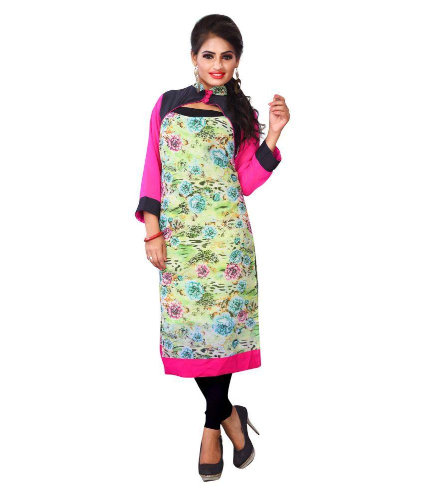 Fashion Founder Multicoloured Crepe Straight Kurti