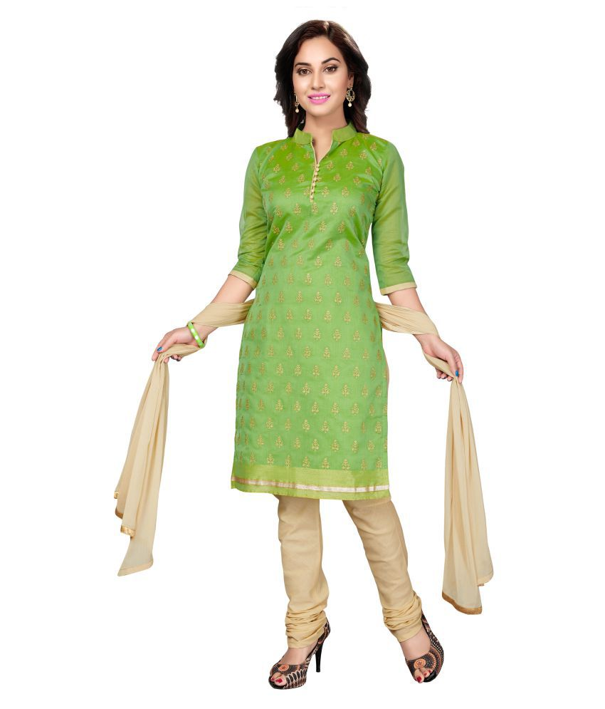 Rani Saahiba Green Chanderi Dress Material