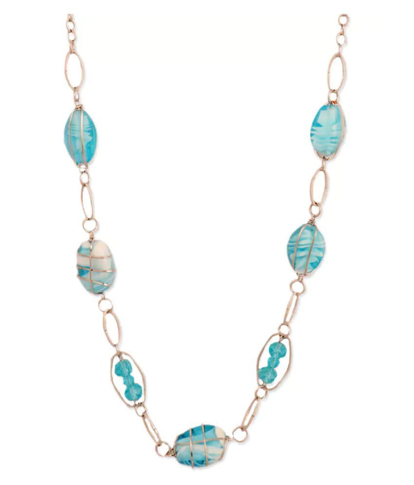 Bling studio blue beaded chain necklace