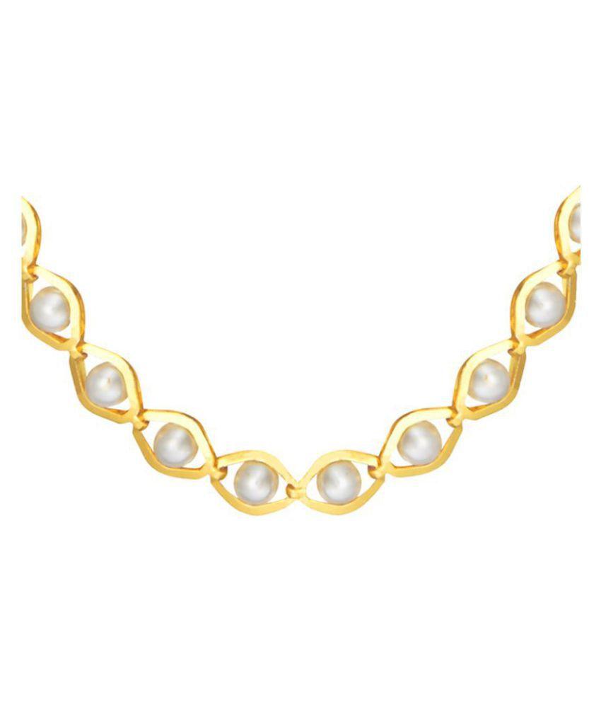 Shining Jewel 24K Gold Designer Link Chain With Pearls (SJ_2264_24)