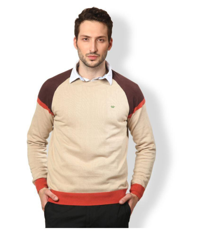 3f8c3094548f UV   W Beige Round Neck Sweater - Buy UV   W Beige Round Neck Sweater  Online at Best Prices in India on Snapdeal