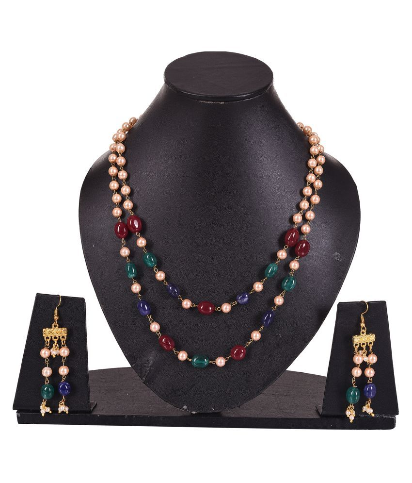Valago Women's And Girls Gold Plating Traditional Designer Kundan Colorful Jewellery Set