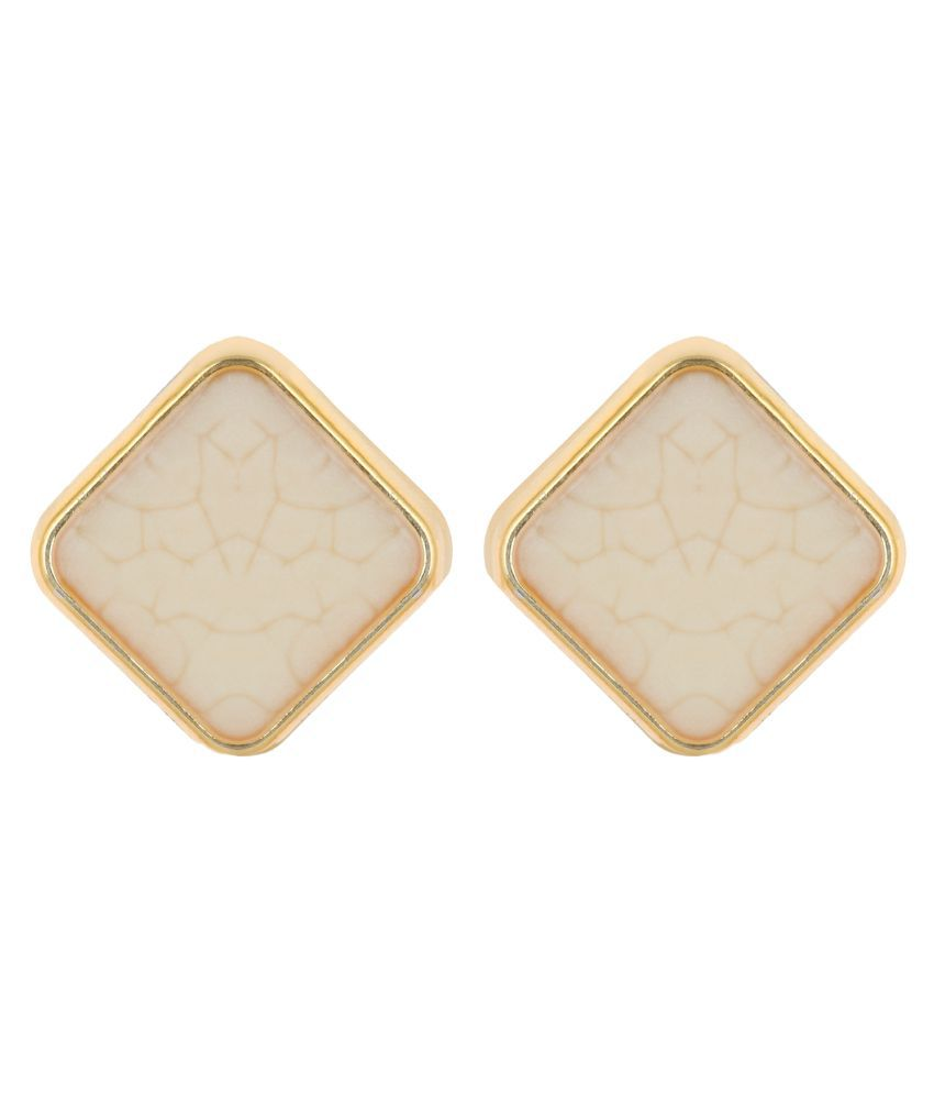 CTW Square Offwhite textured Tops Gift for her Alloy Stud Earring