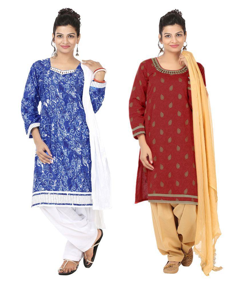 Indian Fair Lady Blue Cotton A-line Stitched Suit