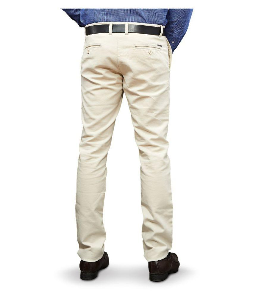 UNTAG Off White Slim -Fit Flat Chinos