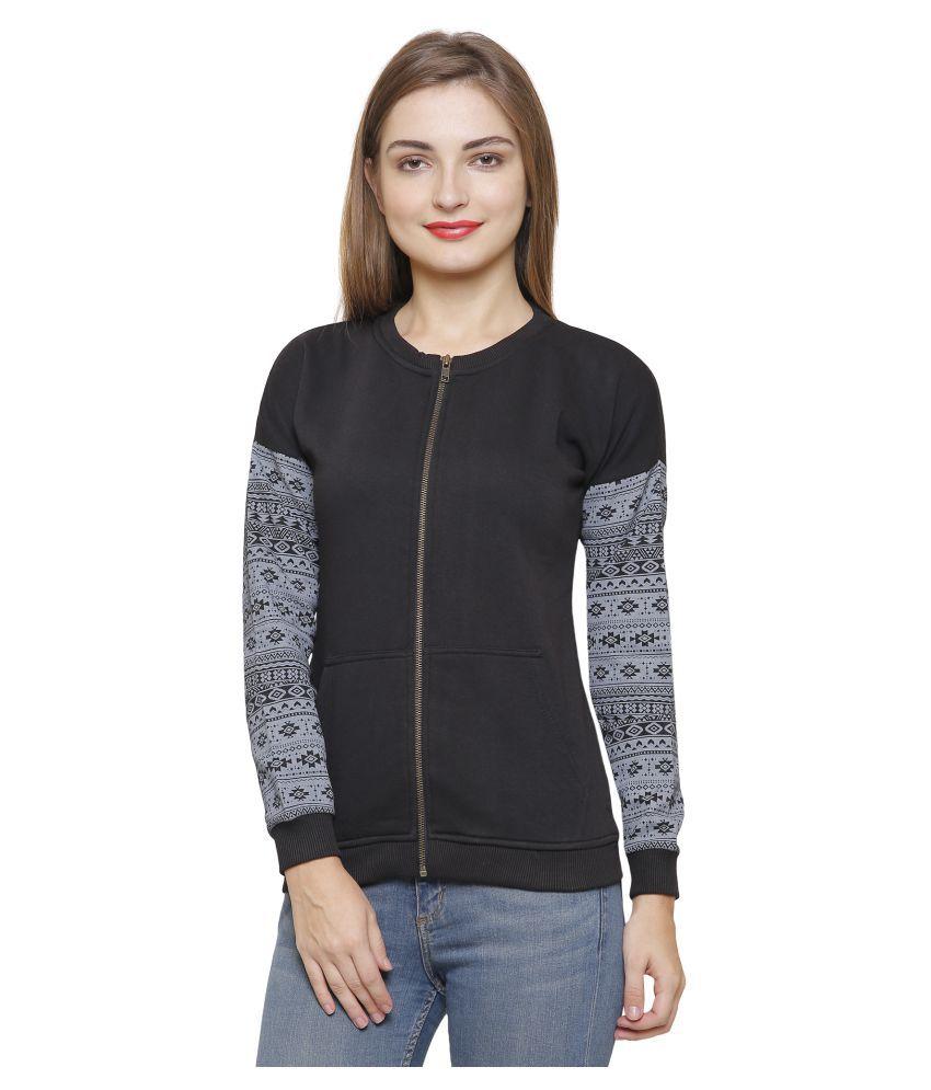Maggivox Cotton Black Zippered Sweatshirt