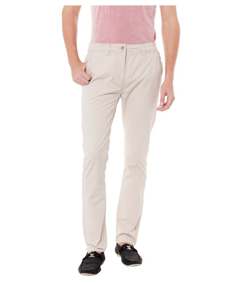 Fast n Fashion Off White Slim -Fit Flat Trousers