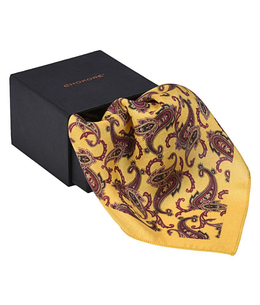 Chokore Tangerine & Burgundy Pocket Square From Indian At Heart Collection