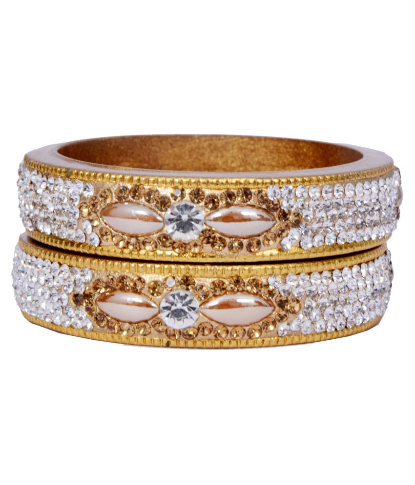 Dulari Stone & Pearl Embellished Golden Lac Round Bangles For Women (Set of 2 Bangles)