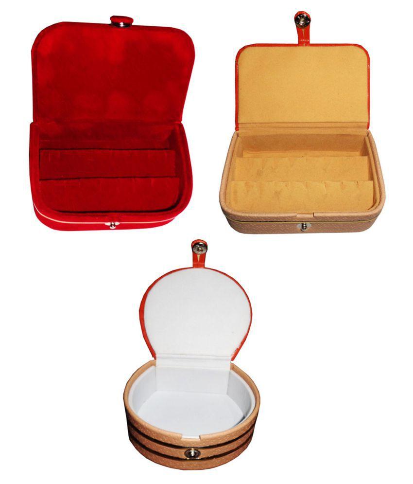 Afrose Combo 1 pc  earring box 1 pc red ear ring folder 1 pc bangle box jewelry vanity case