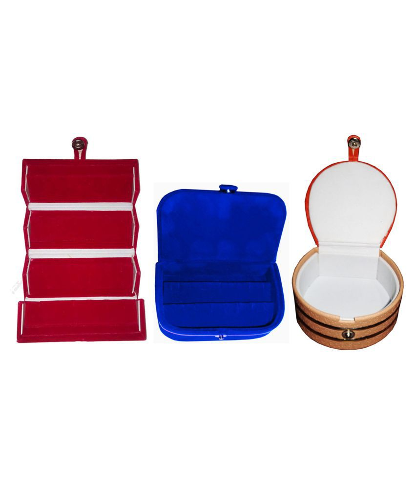 Afrose Combo 1 pc red earring folder  1 blue ear ring box and 1 pc bangle box jewelry vanity case