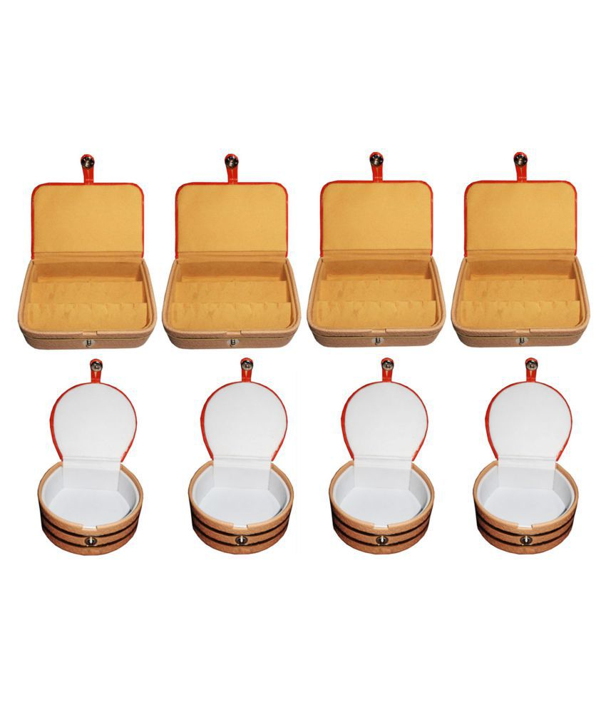 Afrose Combo 4 pc  ear ring box and 4 pc bangle box jewelry vanity case