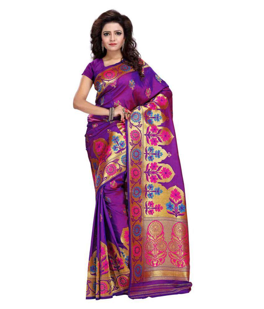 Just Fashion Purple Banarasi Silk Saree
