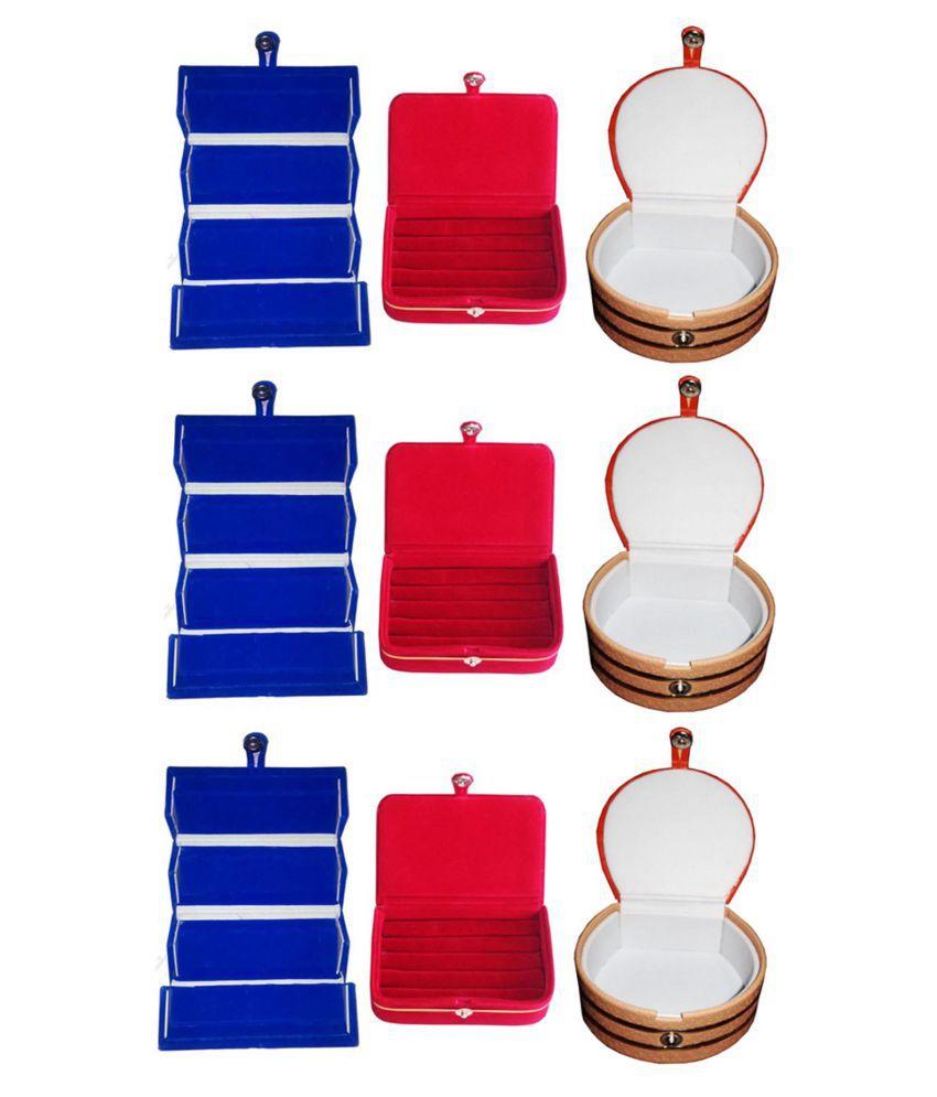 Sabita Combo 3 pc blue earring folder  3 red ear ring box and 3 pc bangle box jewelry vanity case