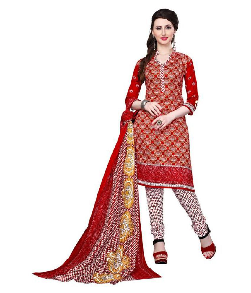 SHAURYA INNOVATION Red and Pink Bengal cotton Dress Material