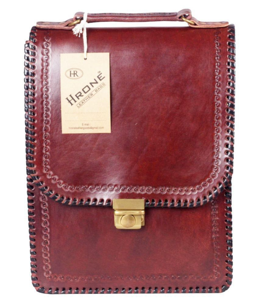 Hrone Notebook Maroon Leather Casual Messenger Bag