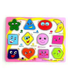 Wishkey Wooden Educational Colorful Fruits,Numbers,Geometric Shapes,Animals,Vehicles Set of 5 Puzzle board