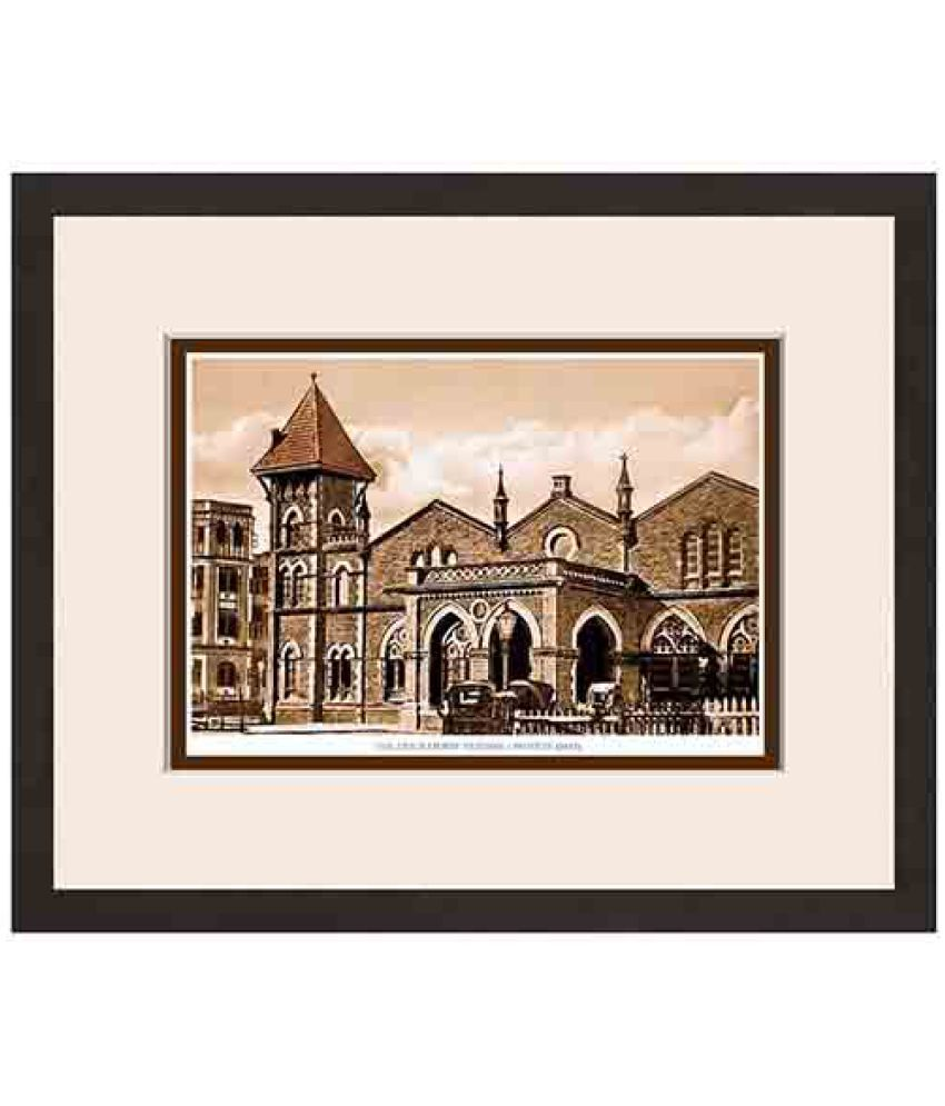 Magnate Publishing House Old Vintage Bombay Colaba Railway Station Wood Photo Wall Poster With Frame