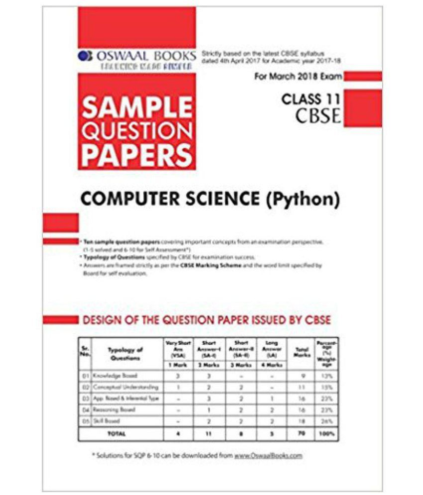 Oswall CBSE Sample Question Papers For Class 11 Computer