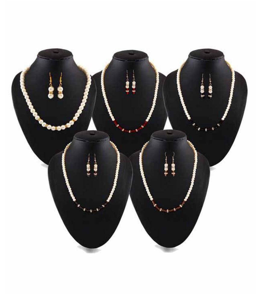Variation Combo of 5 Pearl Necklace Sets