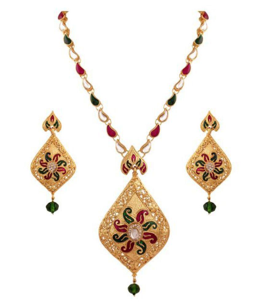 Variation Purple & Green Enamel Gold Plated Kundan Semi-Necklace Set