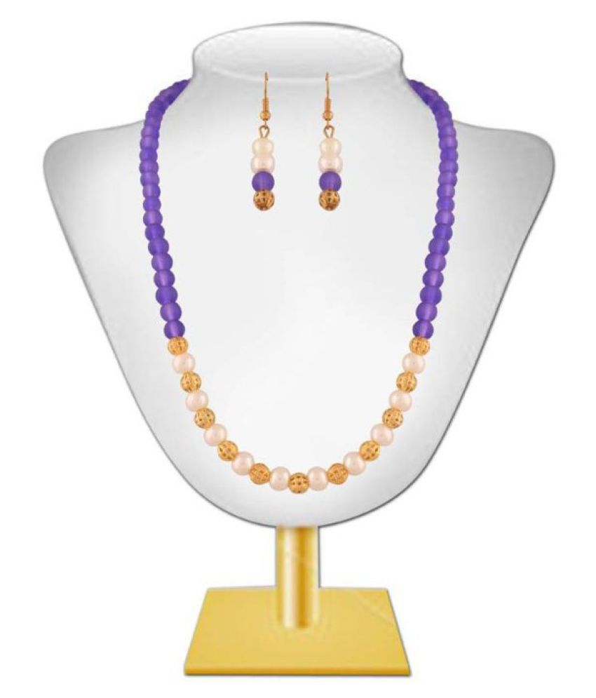Variation Purple Stone Studded Pearl Fashion Necklace