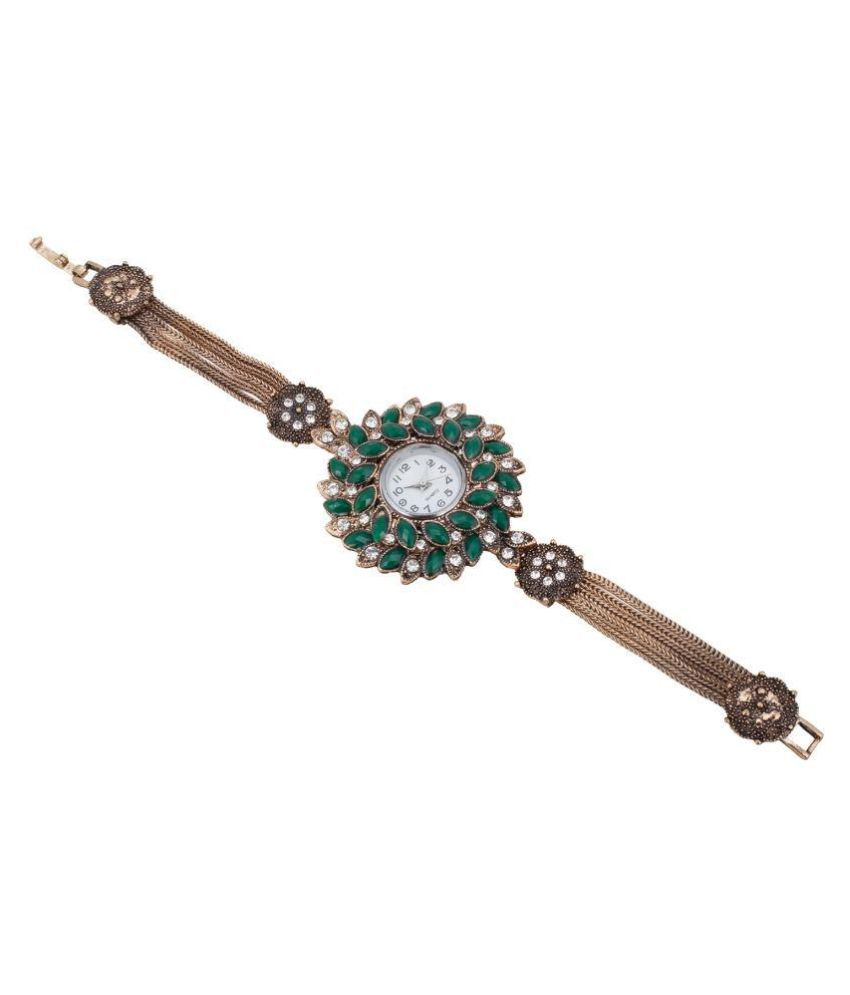Aradhya Collections Party Wear Black Stone Contemporary Oxidised Golden Adjustable Watch for Girls and Women
