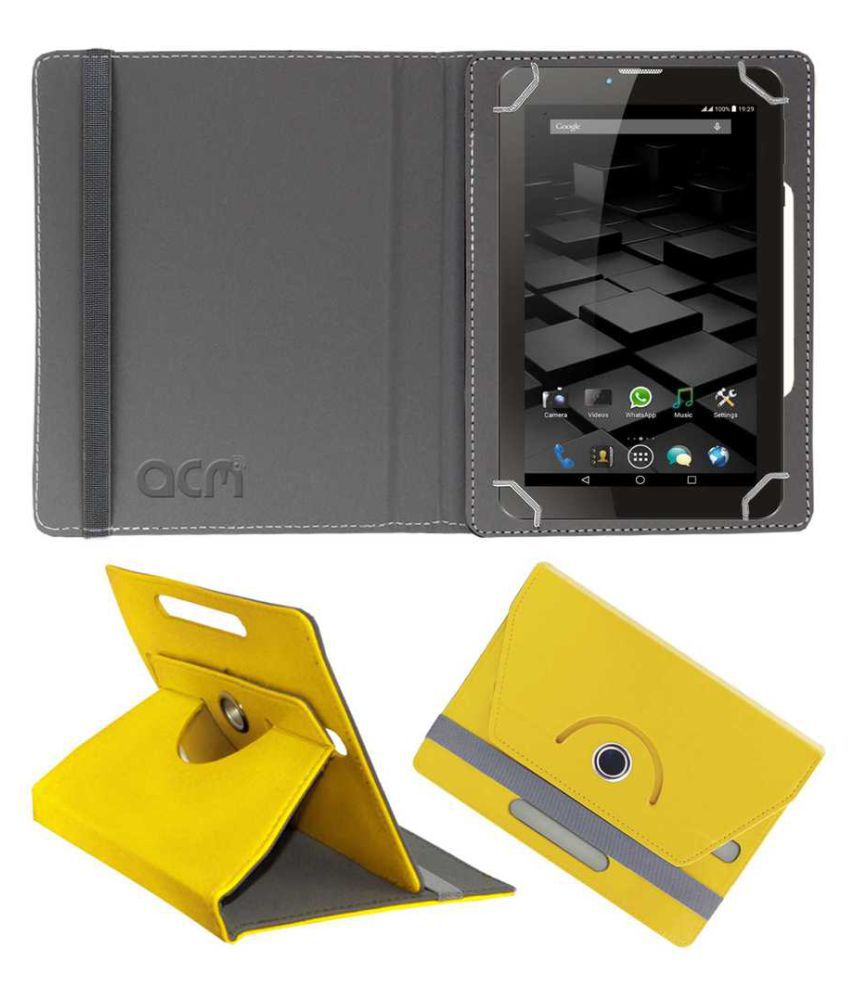 Ice XT401 Flip Cover By ACM Yellow