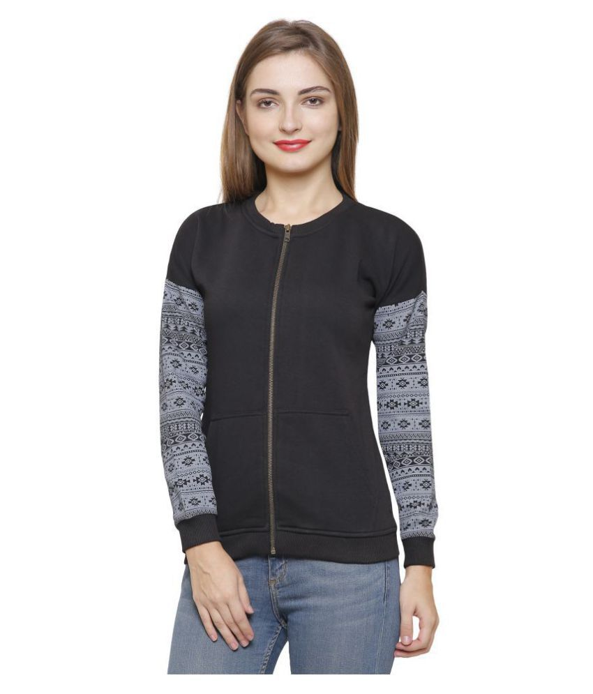 Maggivox Cotton Black Zippered Sweatshirt