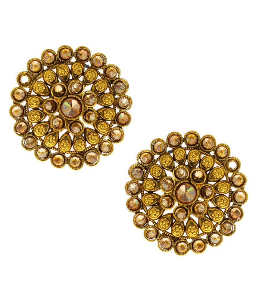 Anuradha Art Peach Colour Classy Round Shape Adorable Traditional Stud Earrings For Women/Girls