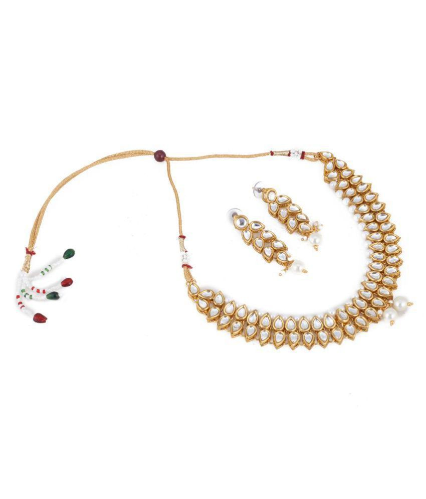 Aradhya Designer Bollywood Inspired Kundan Jewellery Set / Necklace Set With Earrings For Women / Girls